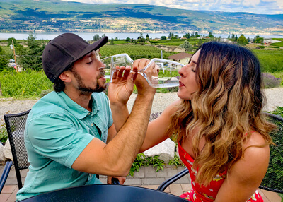 Couple Enjoying Date Night Wine Tour at Lunessence Winery Summerland